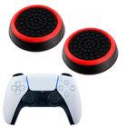 Силиконовые накладки для джойстика PS5 DualSense черные с красной окантовкой 2 шт