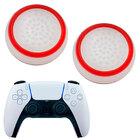 Силиконовые накладки для джойстика PS5 DualSense белые с красной окантовкой 2 шт
