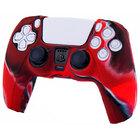Силиконовый чехол для джойстика PS5 Dualsense камуфляжный красный