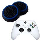 Силиконовые накладки для джойстика Xbox Series X / S черные с синей окантовкой 2 шт
